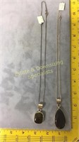 2 SS Necklaces Blue Tiger's Eye + Golden Obsidian