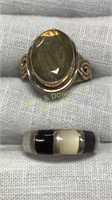 10 Semiprecious Rings Marked Sterling Size 8