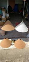 4 Cardboard hanging light fixtures with bulbs