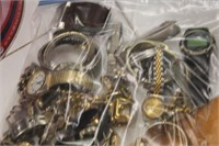 Bag of Various Watches & Jewelry