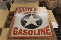 Metal White Star Gasoline Sign