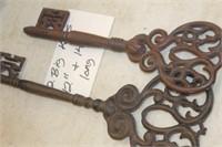 """2 Big Cast Iron Keys,12"""" & 14"""""""