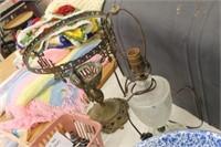 Vintage Metal Lamp Base & Lamp