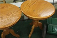 Pair of Round Occasional Oak Tables,24Dx25 Tall,