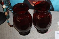 2 Ruby Red Glass Vases