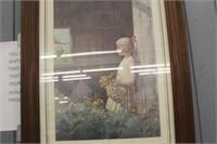 Framed Girl Print & Bless our Home Decor