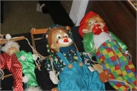 4 Vintage Clown Puppets on Strings