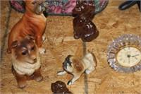 Lot of Dog Figures & Clock