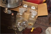 Lot of George Dickle Glasses,Decanter,etc
