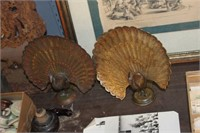 2 Peacock Brass Statues