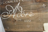 Wooden Come Let Us Adore Him Decore
