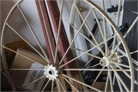 Pair of Antique Metal Wheels with Wooden Post