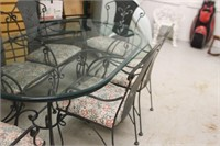 Glass Top Heavy Wrought Iron Table & 6 Chairs
