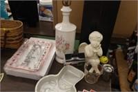Lamp,Fire King Measuring Cup,Angel Figure,etc