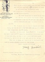Houdini, Harry. Important Two Page Letter!