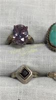 12 Rings Size 5 Various Semiprecious Colors Shapes