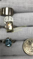 12 Semiprecious Rings Size 5 Sterling and Other