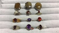 12 Semiprecious Rings Size 6 Sterling & Other