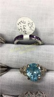 12 Semiprecious Sterling Rings Size 9