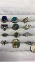 12 Semiprecious Rings Marked Sterling Size 5