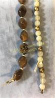 6 Pc Semiprecious & Glass Bracelet & Necklaces