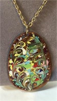 4 Unique Hand Painted and Other Pendant Necklaces