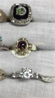 12 Semiprecious Rings Size 8 Sterling and Other
