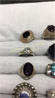 12 Semiprecious Rings Size 6 Sterling and Other