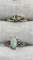 12 Semiprecious Rings Size 5 Sterling & Other