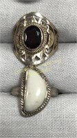 8 Semiprecious Rings Size 6 Sterling & Other