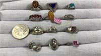 12 Semiprecious Size 5 Sterling Rings