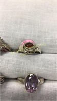 11 Semiprecious Sterling Rings Size 8