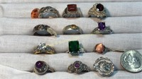 12 Semiprecious Size 8 Sterling Rings