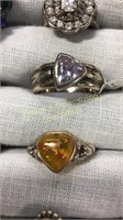 12 Semiprecious Size 6 Sterling Rings