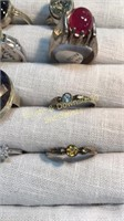 12 Semiprecious Size 9 Sterling Rings