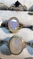 10 Semiprecious Size 11 Sterling Rings