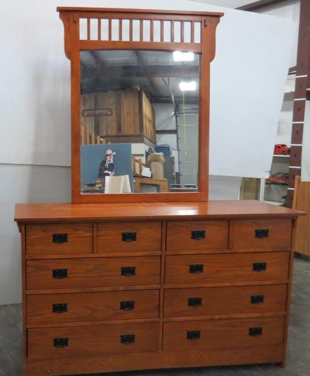 Mission Style 8 Drawer Long Dresser With Mirror Idaho