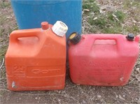 Barrel and 2 Gas Cans