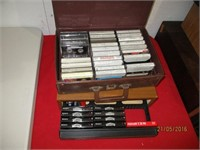 CD and Cassette Holders with CD's and Cassettes