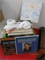 3) Crates of Vinyl Records