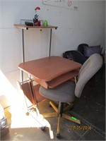 Desk, Rolling Office Chair, Tape, Lamp