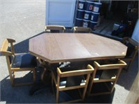 Wood Table w/ 6 Black Seated Chairs