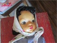 Doll w/ Changing Pad, Red Table & Wood Chair