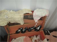 Red Box of Crochet Clothes and Shoes