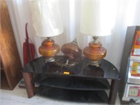 TV Stand and 3) Lamps