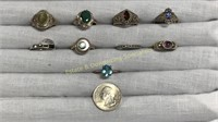 9 Semiprecious Size 8 Sterling Rings