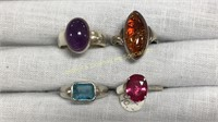 11 Semiprecious Size 8 Sterling Rings