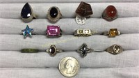 12 Semiprecious Size 7 Sterling Rings