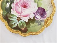 Hand Painted Laure Signed Limoges Rose Plate