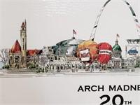 Signed John Pils Arch Madness Saint Louis Poster